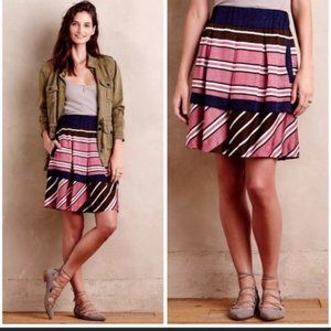 Maeve Anthro Ellery Tiered Pleated Striped Skirt 4